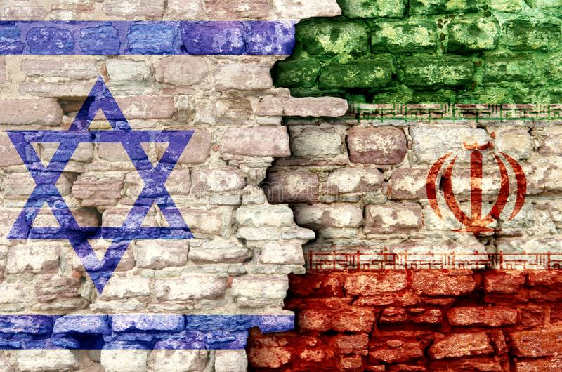 Iran and israel. Flags and rocket in military conflict royalty free stock photography