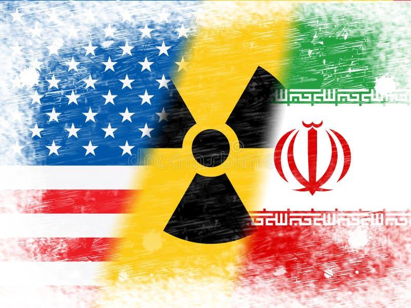 Iran Jądrowa transakcja Zaznacza 2d ilustrację - negocjacja Lub Opowiada Z Usa - ilustracja wektor
