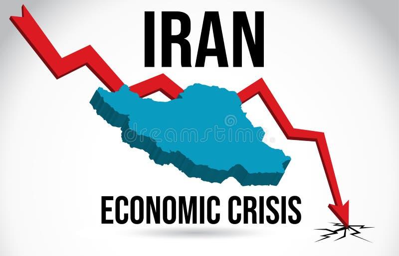 Iran Map Financial Crisis Economic Collapse Market Crash Global Meltdown Vector. Illustration vector illustration