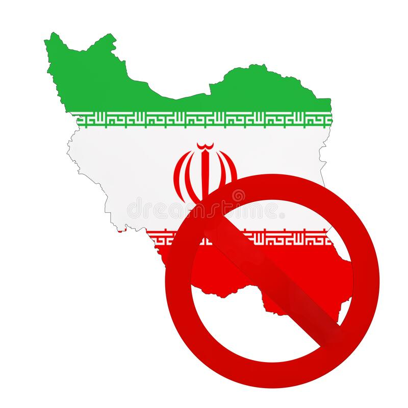 Iran Map with Flag and Red Prohibit Sign. 3d Rendering. Iran Map with Flag and Red Prohibit Sign on a white background. 3d Rendering stock illustration