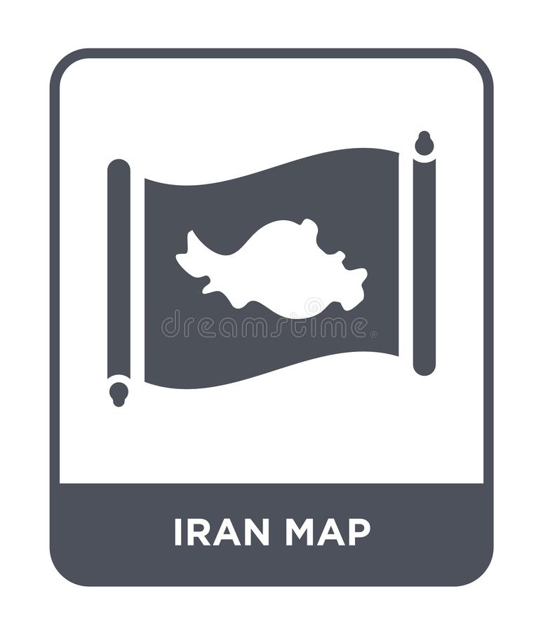 Iran map icon in trendy design style. iran map icon isolated on white background. iran map vector icon simple and modern flat. Symbol for web site, mobile, logo royalty free illustration