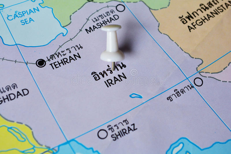 Iran map. Macro shot of Iran map with push pin stock image