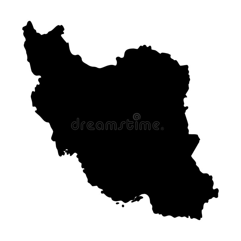 Iran map silhouette vector illustration. Isolated on white background royalty free illustration