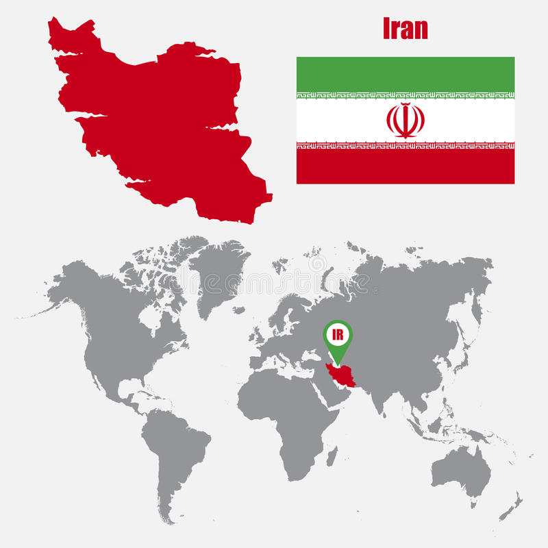 download iran map on a world map with flag and map pointer vector illustration stock