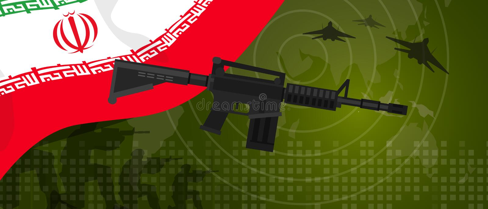 Iran military power army defense industry war and fight country national celebration with gun soldier jet fighter and. Radar vector royalty free illustration