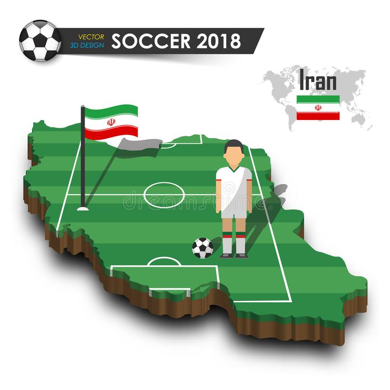 Iran national soccer team . Football player and flag on 3d design country map . isolated background . Vector for international wor vector illustration