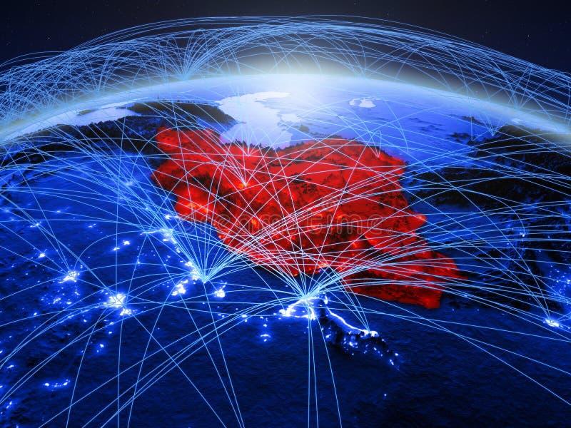 Iran op blauwe digitale aarde met internationaal netwerk die mededeling, reis en verbindingen vertegenwoordigen 3D Illustratie royalty-vrije stock fotografie