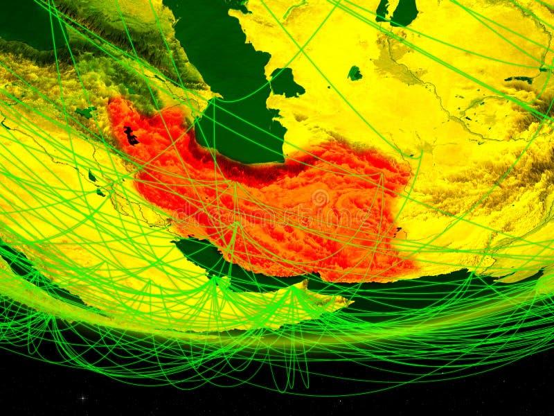 Iran op groen model van aarde met netwerk die digitaal tijdperk, reis en mededeling vertegenwoordigen 3D Illustratie Elementen va stock afbeeldingen