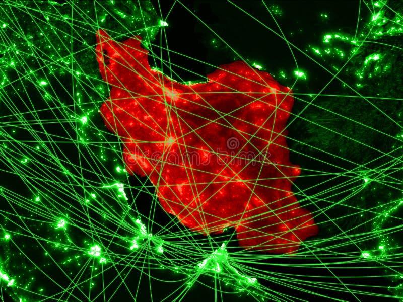 Iran op groene kaart royalty-vrije stock afbeeldingen