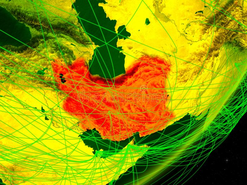 Iran på digital jord stock illustrationer