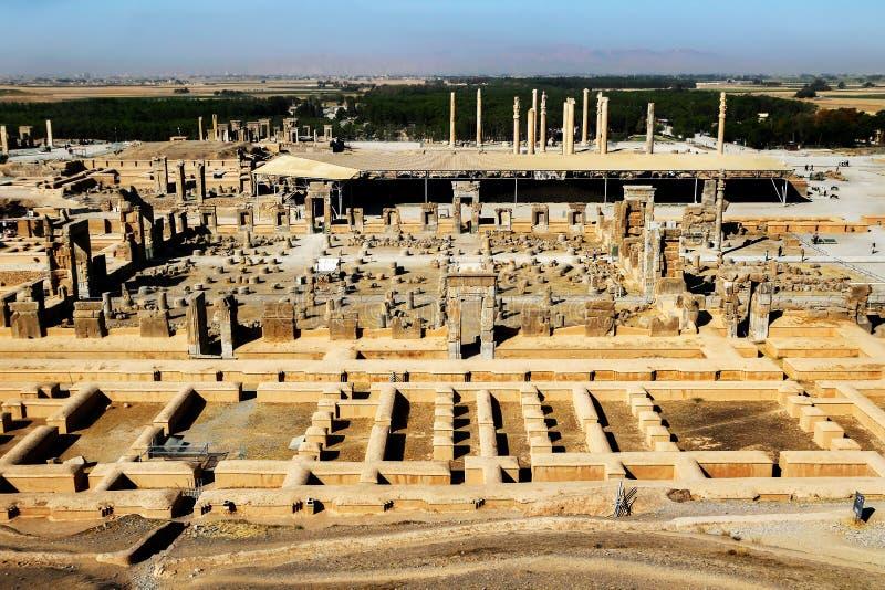 iran Persepolis is het kapitaal van het oude Achaemenid-koninkrijk Oude Ruïnes perzië Mening van hierboven stock foto's