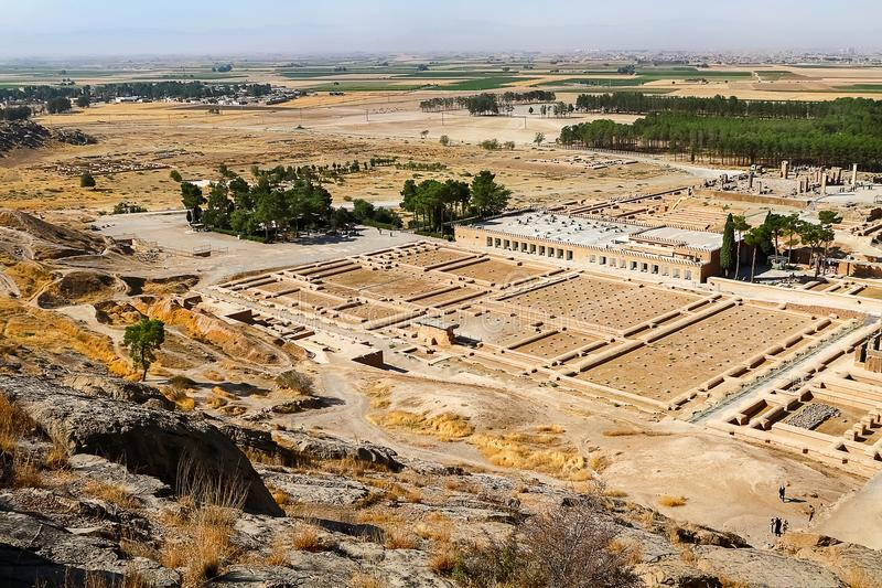 iran persia Fördärvar av Persepolis Forntida Achaemenidkungarike ovanför sikt fotografering för bildbyråer