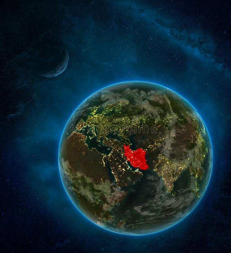 Iran from space on Earth at night surrounded by space with Moon and Milky Way. Detailed planet with city lights and clouds. 3D. Illustration. Elements of this stock illustration