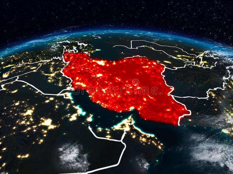 Iran at night. Iran from space at night on Earth with visible country borders. 3D illustration. Elements of this image furnished by NASA stock photos