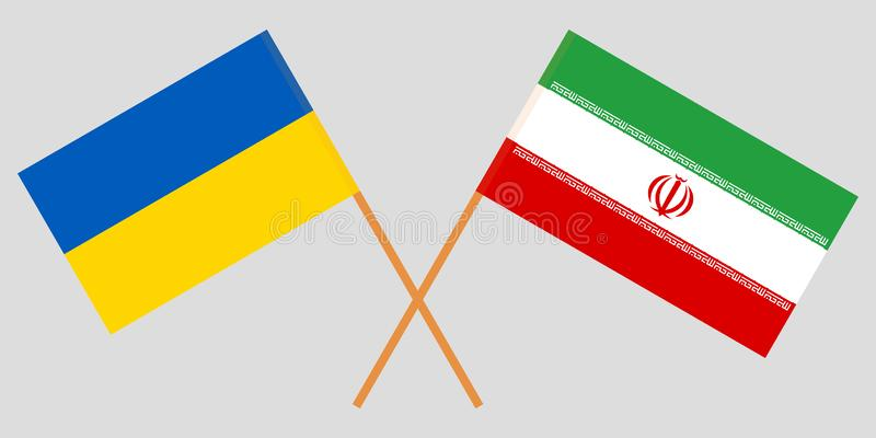 Iran and Ukraine. The Iranian and Ukrainian flags. Official colors. Correct proportion. Vector. Illustration vector illustration