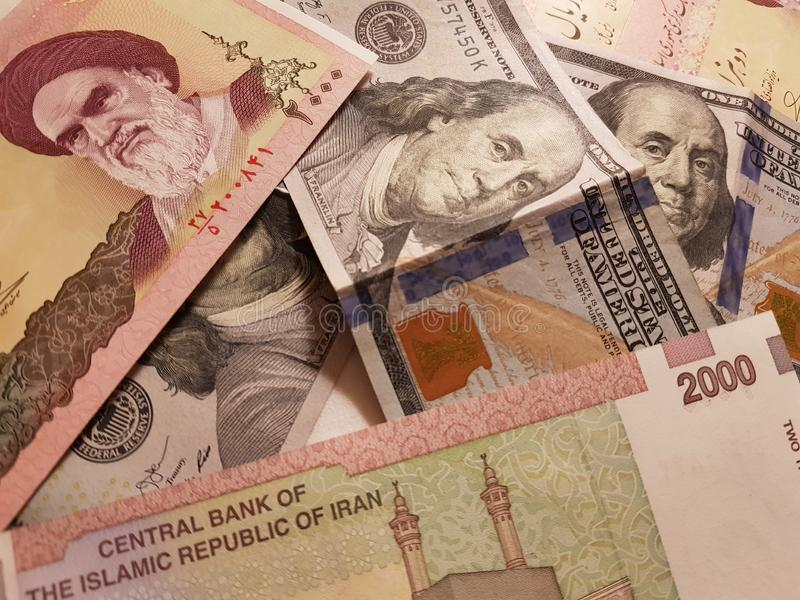 Iran and the United States Join in the trade and economy, banknotes Use it as a Forex or Financial.  stock photos