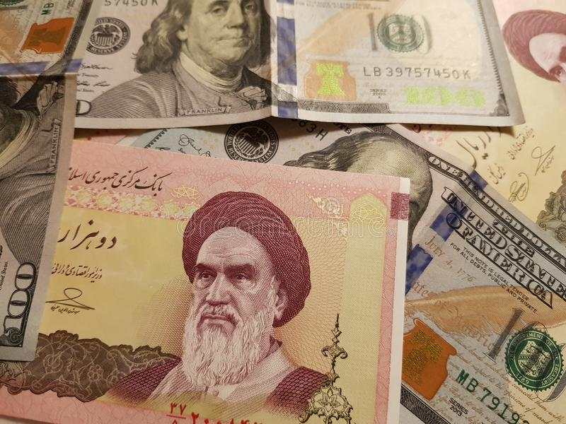Iran and the United States Join in the trade and economy, banknotes Use it as a Forex or Financial.  stock photo