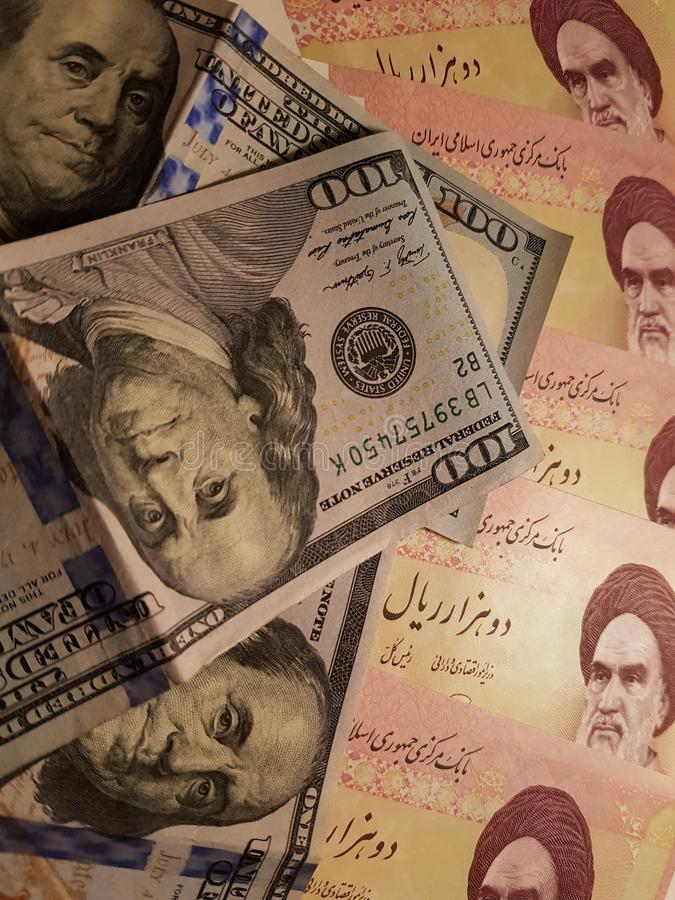 Iran and the United States Join in the trade and economy, banknotes Use it as a Forex or Financial.  stock image
