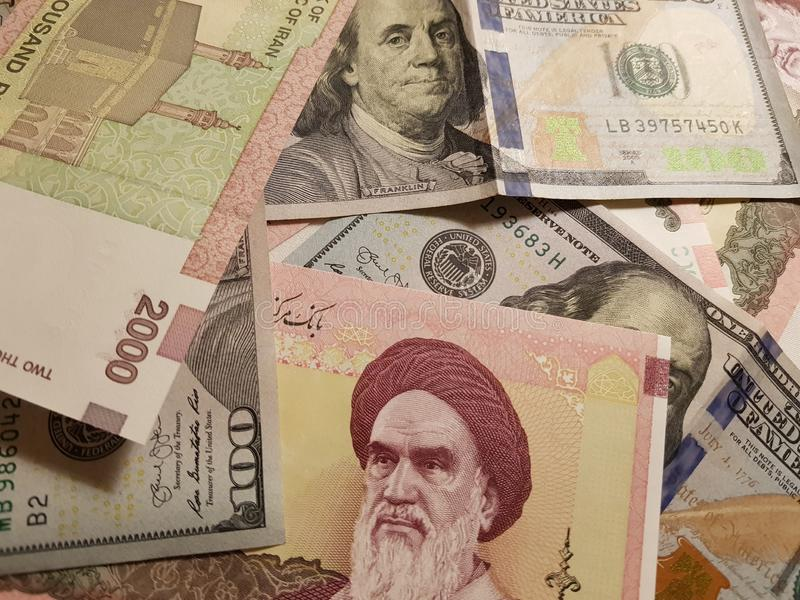 Iran and the United States Join in the trade and economy, banknotes Use it as a Forex or Financial.  stock photography