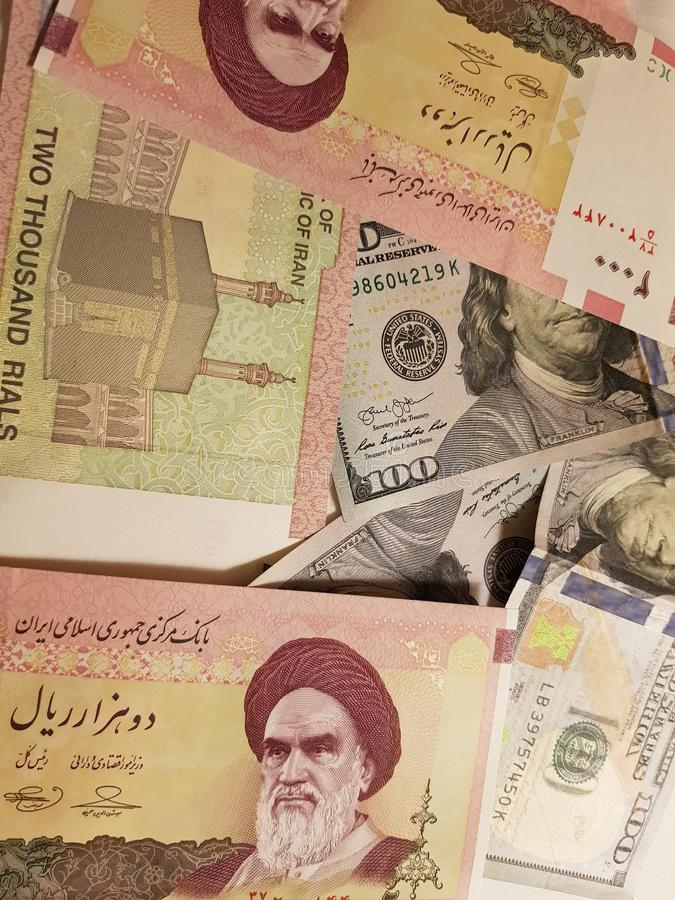 Iran and the United States Join in the trade and economy, banknotes Use it as a Forex or Financial.  stock images
