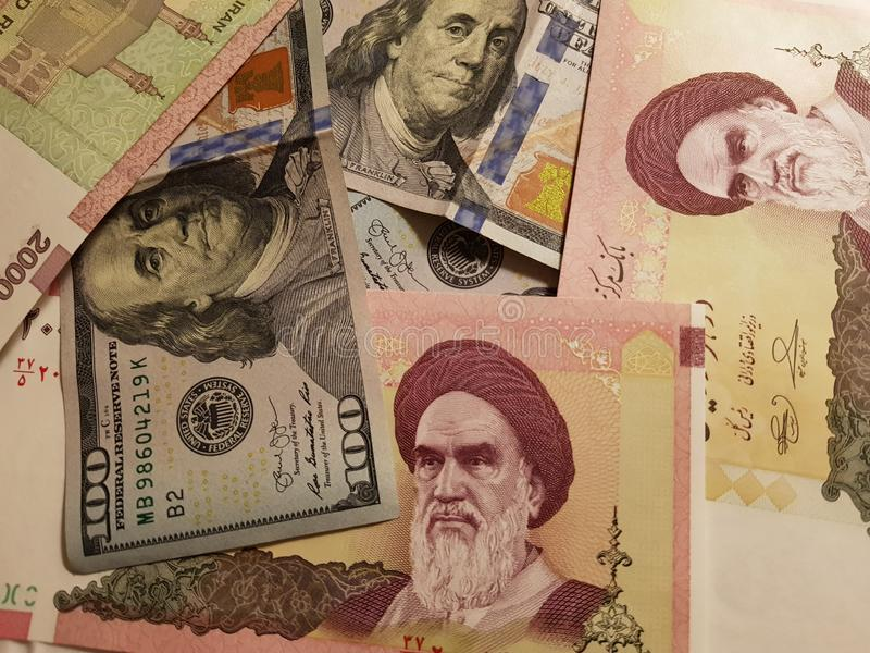 Iran and the United States Join in the trade and economy, banknotes Use it as a Forex or Financial.  royalty free stock photos