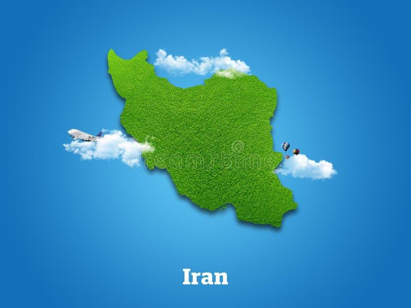 iran ?versikt Grönt gräs, himmel och molnigt begrepp arkivbild