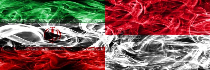 Iran vs Monaco rök sjunker den förlade sidan - förbi - sidan Tjockt färgade silkeslena rökflaggor av iraniern och Monaco royaltyfri illustrationer