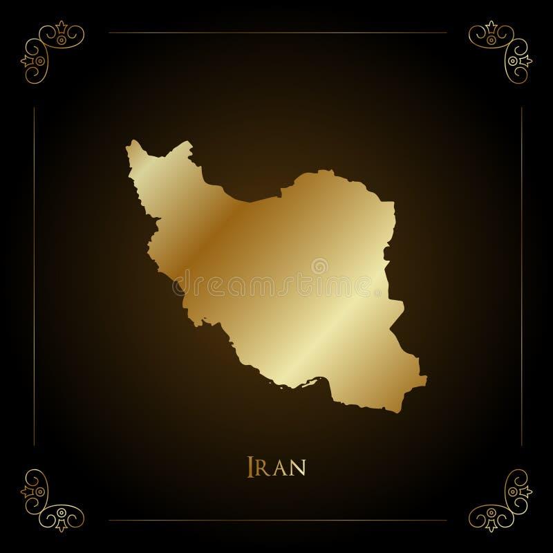 Iran złota mapa ilustracja wektor