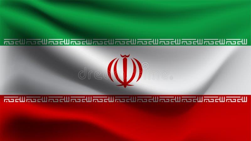 Iran zaznacza falowanie z wiatru 3D ilustracji fali flagą ilustracja wektor