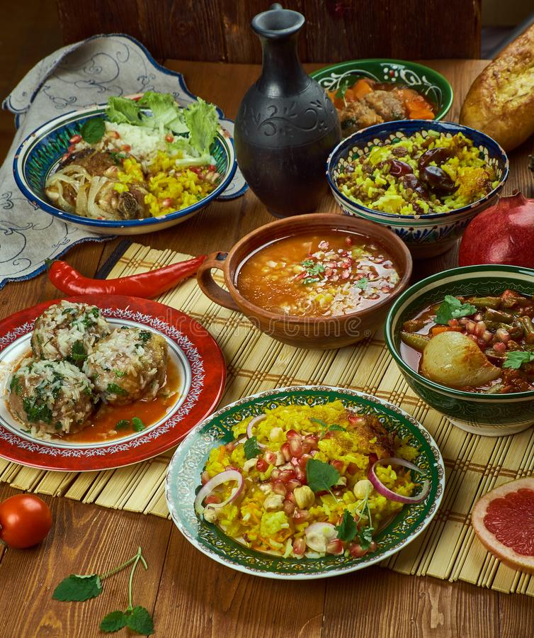 Iranian cuisine. Traditional assorted Persia dishes, Top view stock photos