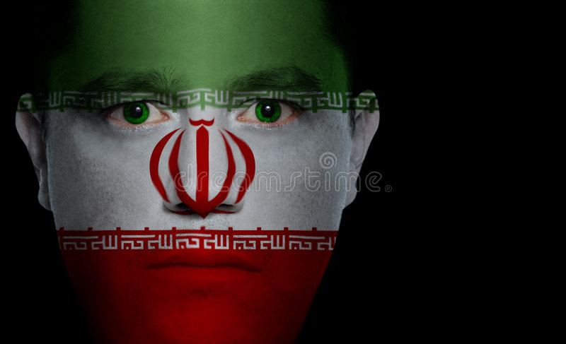 Iranian Flag - Male Face Royalty Free Stock Photo
