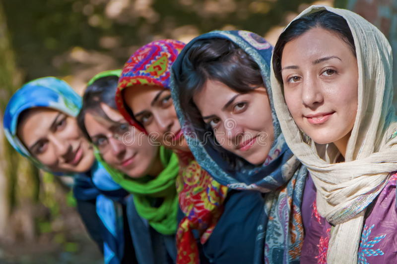 Iranian Girls. In colorful Hijab stock images