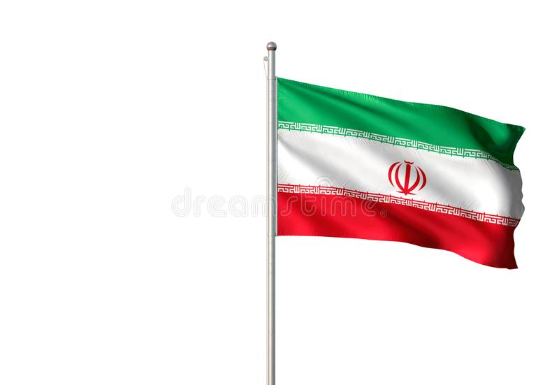 Iran national flag waving isolated white background realistic 3d illustration vector illustration