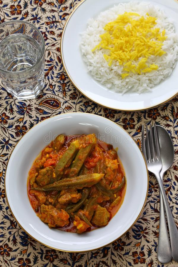 Iranian okra stew. Khoresh bamieh, iranian okra stew royalty free stock photography