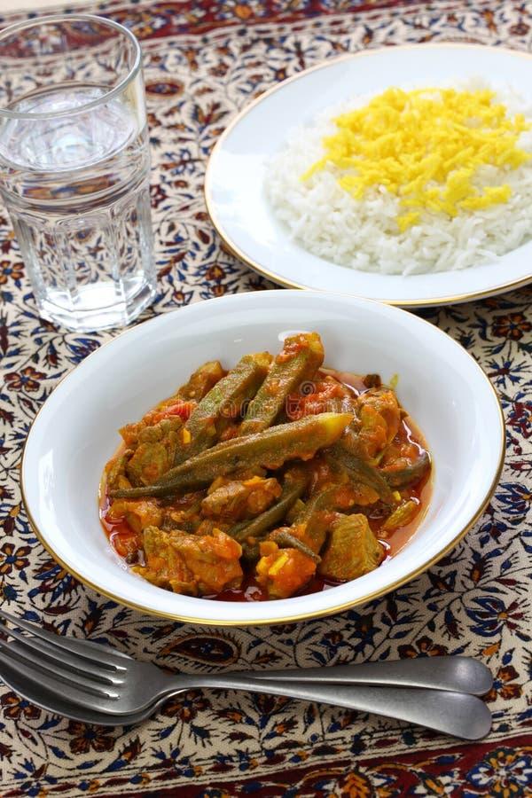 Iranian okra stew. Khoresh bamieh, iranian okra stew stock photo