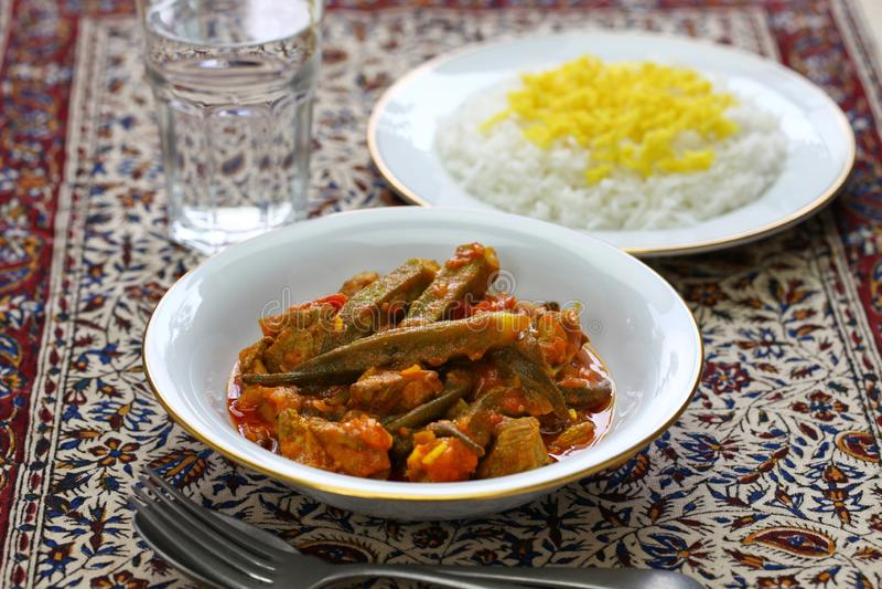 Iranian okra stew. Khoresh bamieh, iranian okra stew royalty free stock images