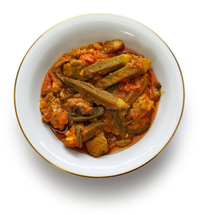 Iranian okra stew. Khoresh bamieh, iranian okra stew isolated on white background royalty free stock photo