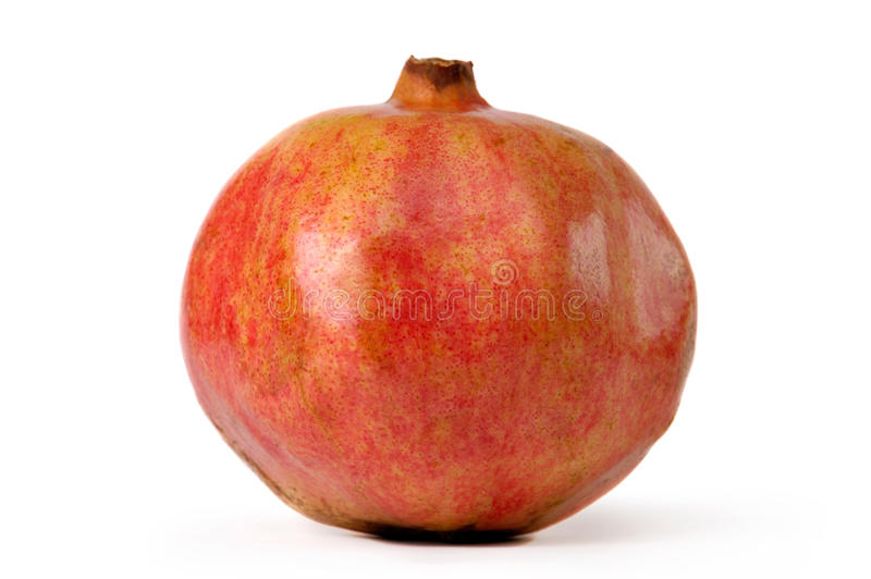 Iranian Pomegranate. Big red appetizing Iranian pomegranate close-up isolated silhouette on white background stock images