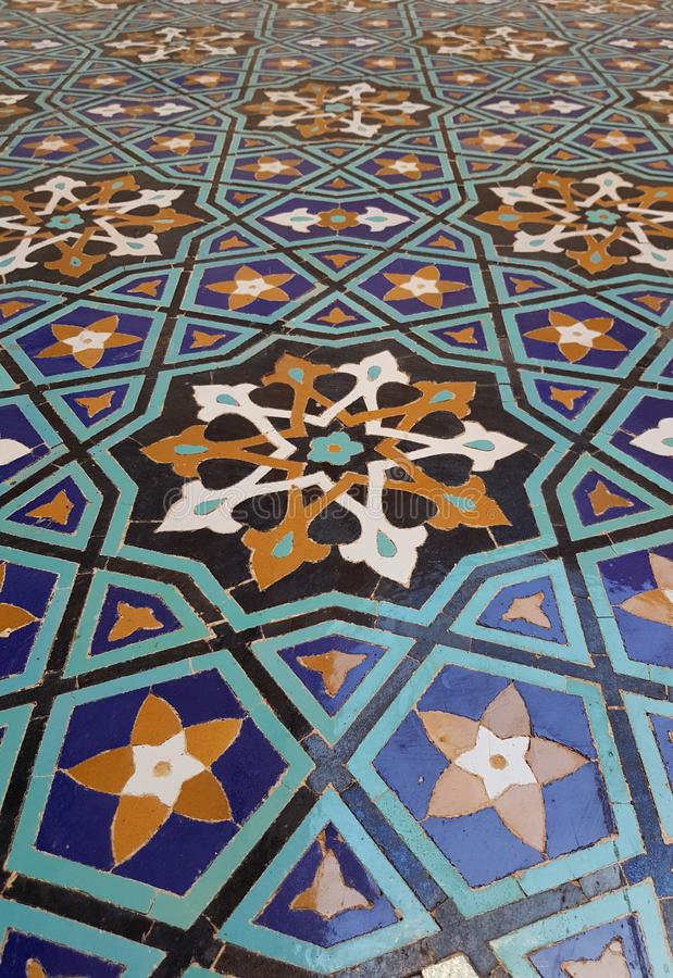 Iranian tiles. Iranian beautiful tiles in central mosque in kerman royalty free stock photography