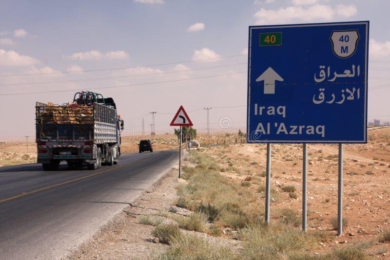 Iraq. Road to Iraq from Amman, the capital of Jordan stock image