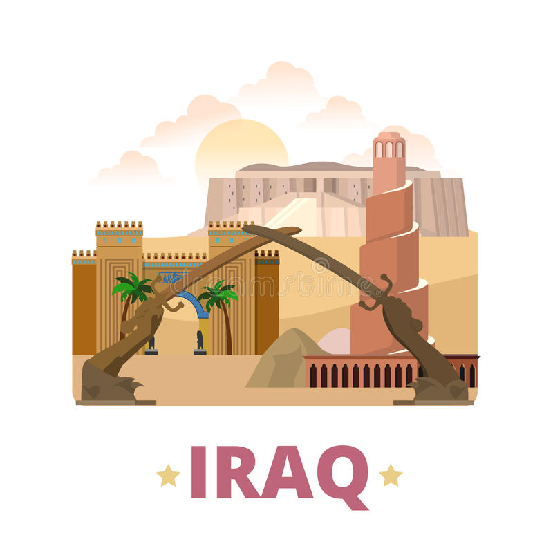 Iraq country design template Flat cartoon style we. Iraq country design template. Flat cartoon style historic showplace web site vector illustration. World