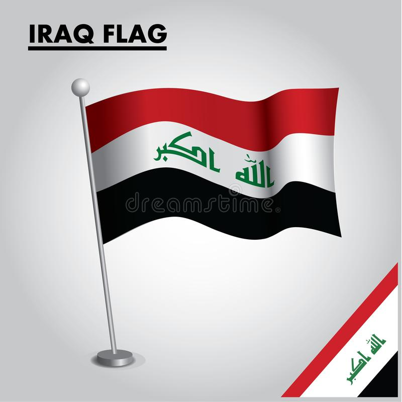 IRAQ flag National flag of IRAQ on a pole stock illustration