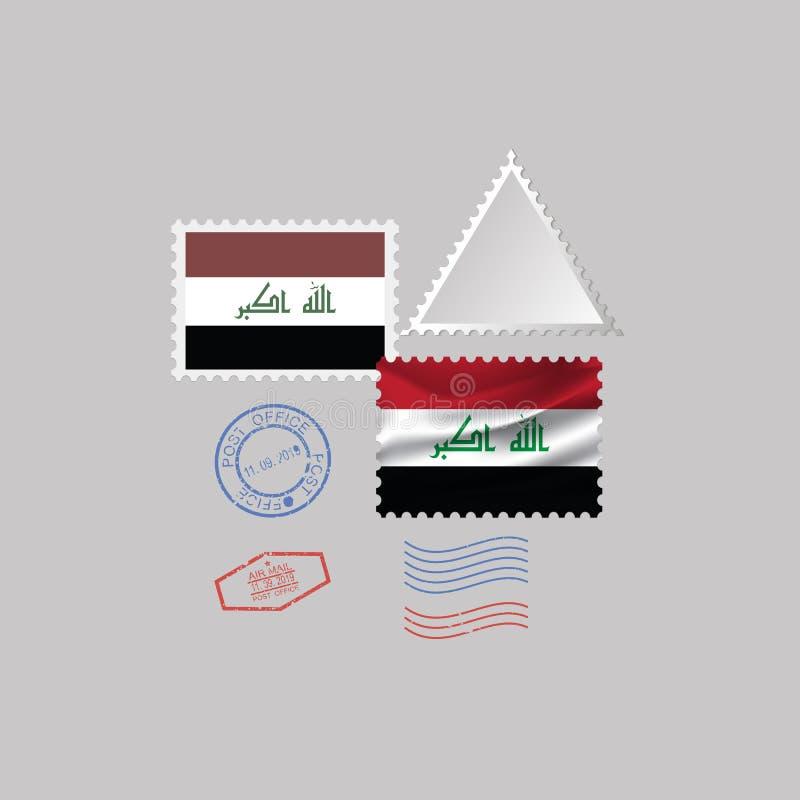 IRAQ flag postage stamp set, isolated on gray background, vector illustration. 10 eps stock illustration