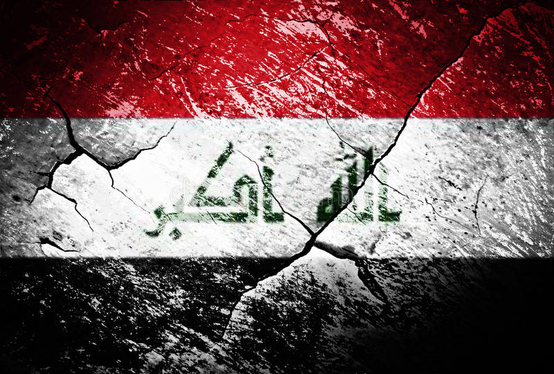 Iraq flag or war or conflict or worn or distressed stock illustration