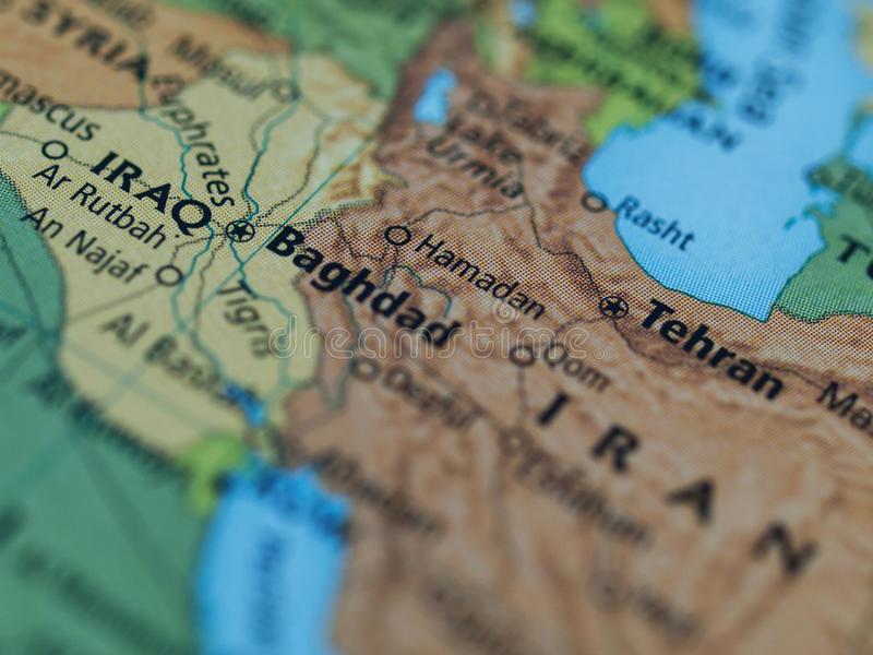 Iraq Iran map. Map of Iraq Iran area with selective focus on Baghdad Iraq royalty free stock image