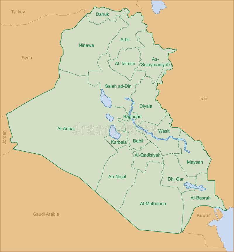 map of iraq with area name