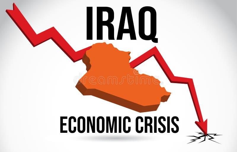 Iraq Map Financial Crisis Economic Collapse Market Crash Global Meltdown Vector. Illustration royalty free illustration