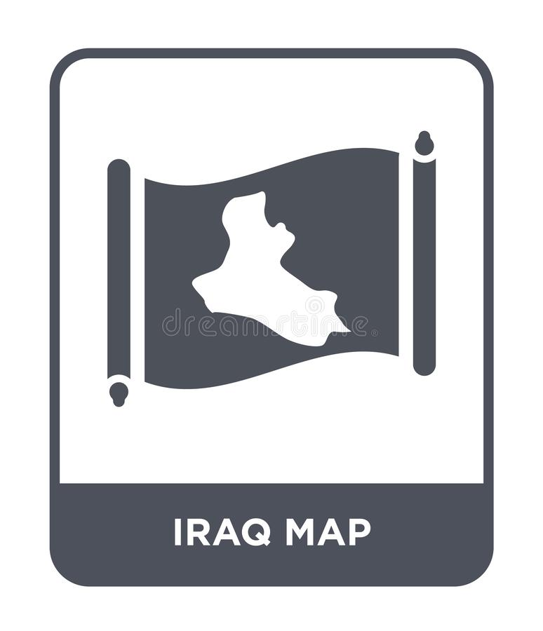 Iraq map icon in trendy design style. iraq map icon isolated on white background. iraq map vector icon simple and modern flat. Symbol for web site, mobile, logo royalty free illustration