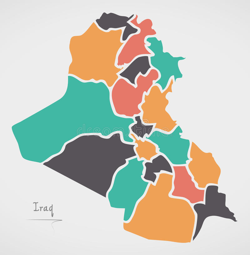 Iraq Map with states and modern round shapes. Illustration royalty free illustration