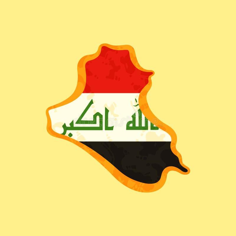 Iraq - mapa coloreado con la bandera iraquí stock de ilustración
